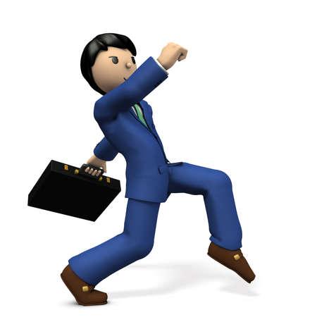 cowardice: A young businessman secretly walking like a spy. 3D illustration Stock Photo
