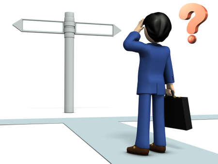 A young businessman who has to choose between them. 3D illustration Banco de Imagens - 76064120