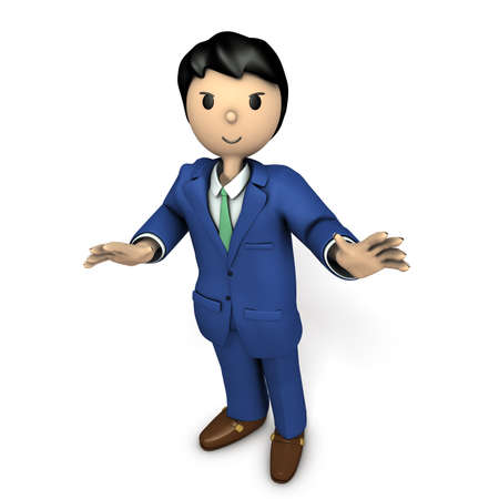 A young businessman during the presentation. 3D illustration