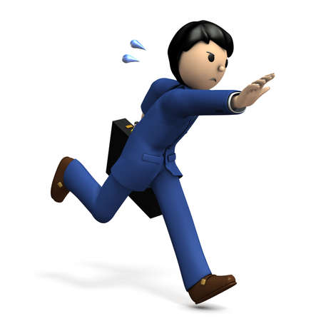 A businessman chasing something. 3D illustration
