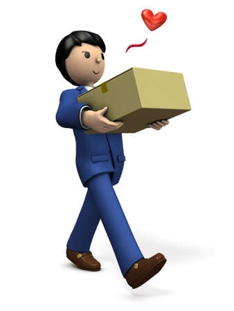 He is pleased that the item he ordered has arrived. 3D illustration