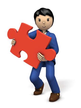 dissolve: A businessman with a puzzle piece. 3D illustration