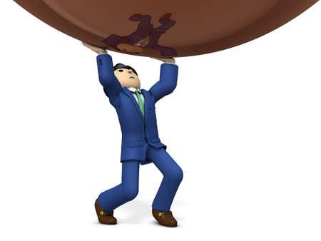 tired businessman: Businessmen have great pressure. 3D illustration Stock Photo