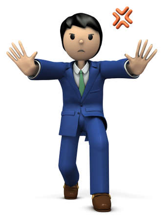 A young businessman stops it with the whole body. 3D illustration