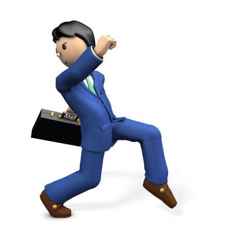cowardice: Secretly walking character. 3D illustration