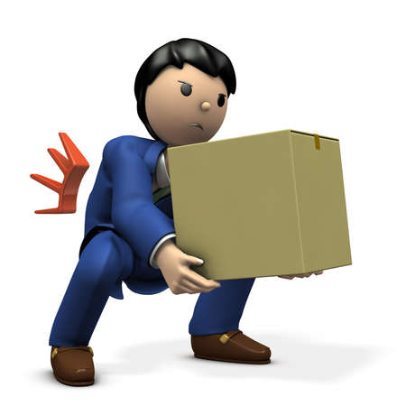 With a heavy luggage, he got into a cranky back. 3D illustration Stock Photo