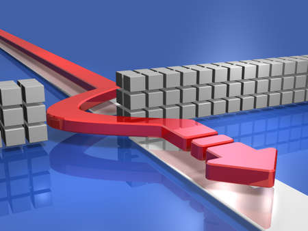 Arrow bypassing obstacles. 3D illustration
