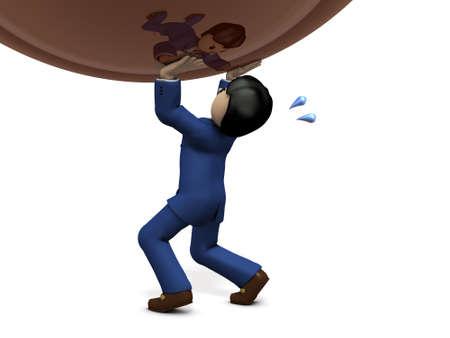 tolerate: Businessmen have great pressure. 3D illustration Stock Photo