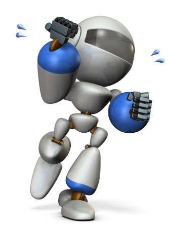 かわいいロボットが興奮しています。3 D イラストレーション