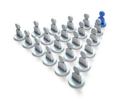 An abstract image representing a leader leading the crowd. 3D illustration