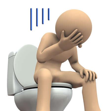 paciencia: Personajes para soportar el dolor abdominal. Ilustración 3D