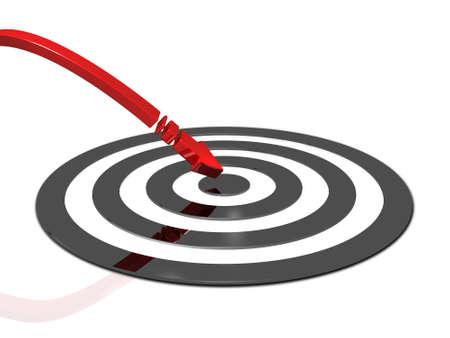 Arrow hitting the center of target. 3D illustration