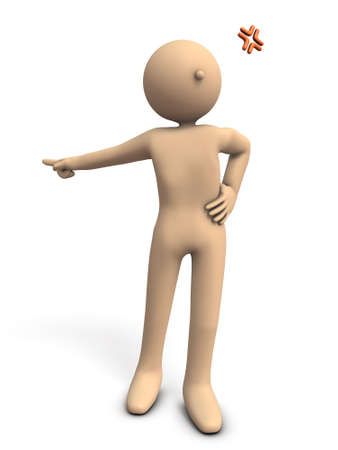 Character orders someone to go out. 3D illustration Stock Photo