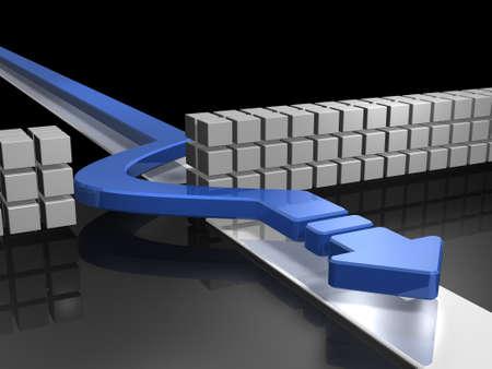 장애물을 우회하는 화살표는 성공을 나타냅니다. 3D 일러스트 레이션