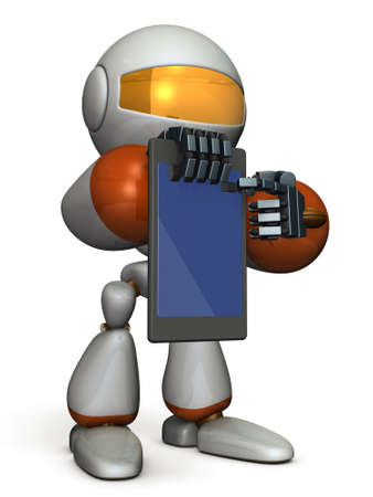 Computer instruction: A cute robot presents information on the tablet PC. 3D illustration Stock Photo