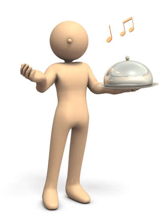 host: Waiter to entertain guests  3D illustration Stock Photo