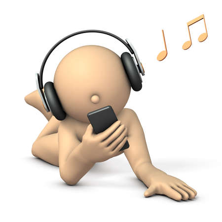 A character enjoying listening to music with headphones. 3D illustration Stock Photo