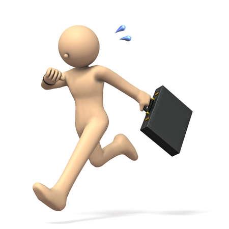 ビジネスマンは、締め切りを気に高速実行しています。3 D イラストレーション 写真素材 - 83371755