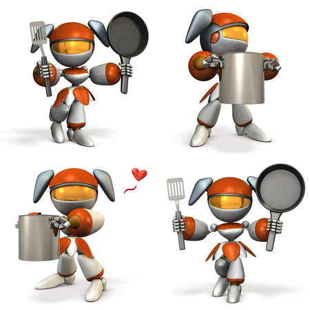 Cute female robot who is good at cooking.  four elements. 3D illustration Stock Illustration - 83101277