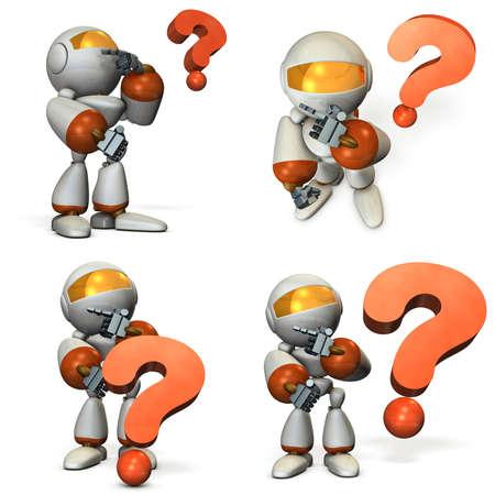 ロボットは、疑問を解決しようとしています。3 D イラストレーション