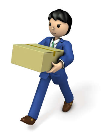 man carrying box: Business person carrying big parcel. 3D illustration Stock Photo