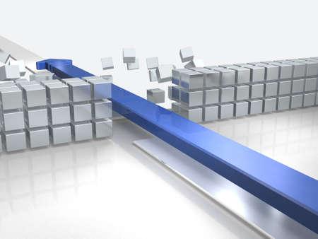 장애물을 돌파하여 접근하는 화살표는 성공을 나타냅니다. 3D 일러스트 레이션 스톡 콘텐츠