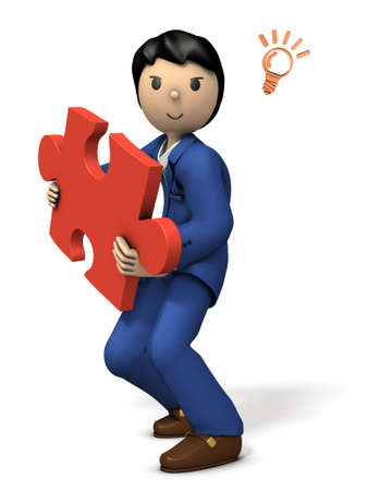 Business people come up with solutions. 3D illustration Stock Photo
