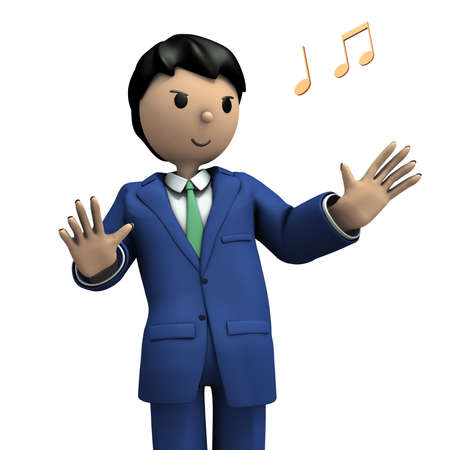 A business person who spreads his hands. 3D illustration Standard-Bild