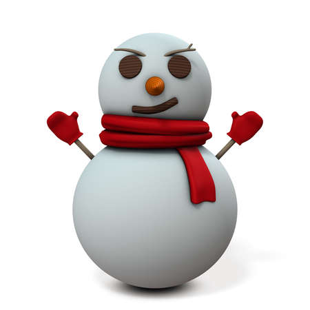 ironic: Snowman is smiling sarcastic.  3D illustration Stock Photo