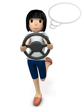 A young woman enjoying driving. 3D illustration