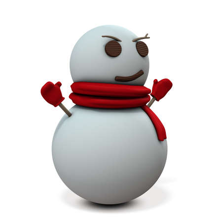Snowman is smiling sarcastic.  3D illustration Stock Photo