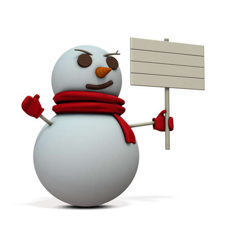 A snowman holding a wooden sign. 3D illustration