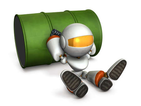 The robot is in a bad mood. 3D illustration Stock Photo
