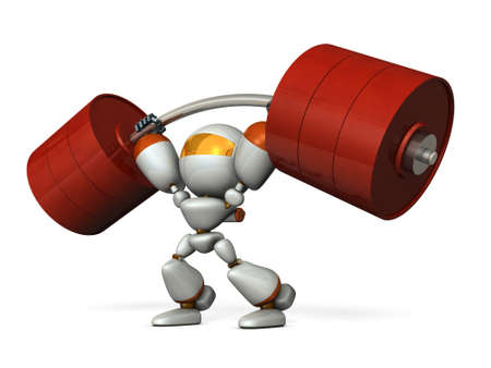 The cute robot can easily lift a heavy weight easily. 3D illustration