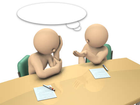 Boss is advising his subordinates how to write a report. 3D illustration Stock Photo