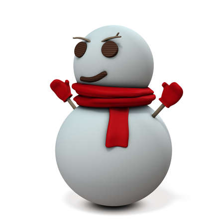 Snowman is smiling sarcastic. 3D illustration