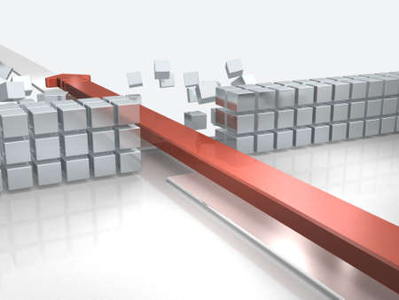 An arrow approaching by breaking through an obstacle indicates success. 3D illustration