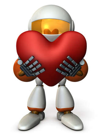 The robot gives a genuine heart. 3D illustration Stock Photo