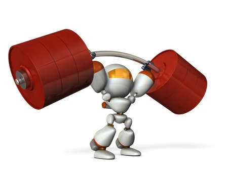 boast: The cute robot can easily lift a heavy weight easily. 3D illustration