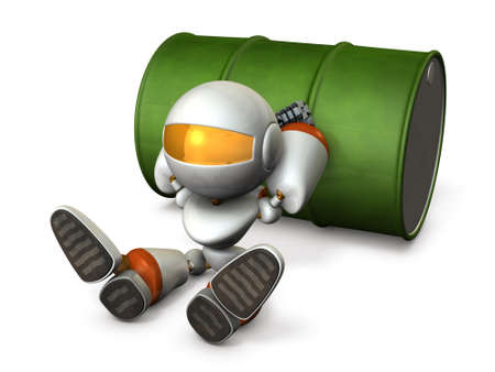 dissatisfaction: The robot is in a bad mood. 3D illustration Stock Photo