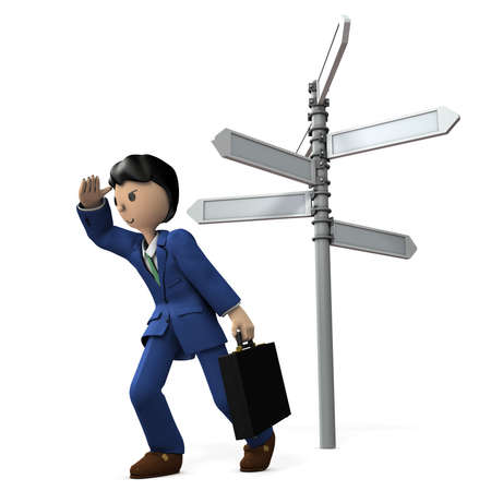 choosing: Businessman is lost and drifting in the way. 3D illustration