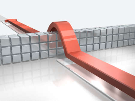 Arrows overcoming obstacles indicate success. 3D illustration