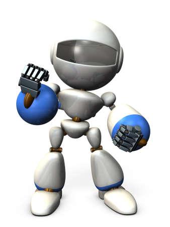 A cute robot that encourages you. 3D illustration Фото со стока
