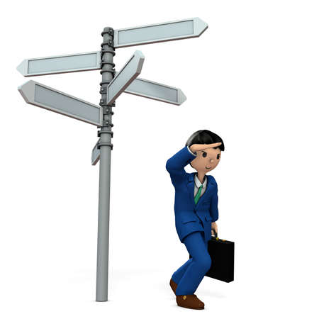 Businessman is lost and drifting in the way. 3D illustration