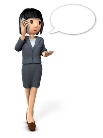 inquiry: Business woman talking on smartphone. 3D illustration