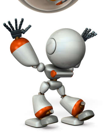 A cute robot stands to catch something. 3D illustration Imagens