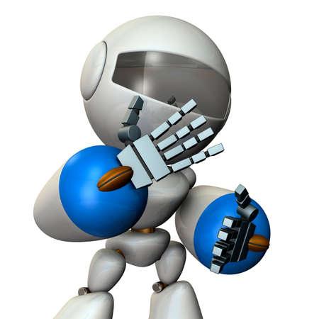 The robot is very shy. 3D illustration
