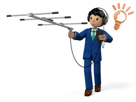 Hommes d'affaires recueillant des informations. Illustration 3D Banque d'images - 89186486