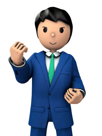 A young businessman with high motivation. 3D illustration