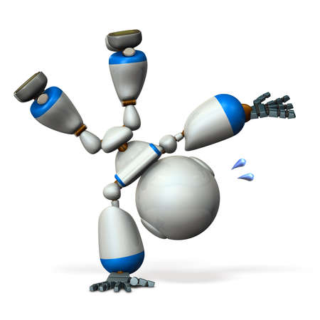 Cute robot turning powerfully. 3D illustration